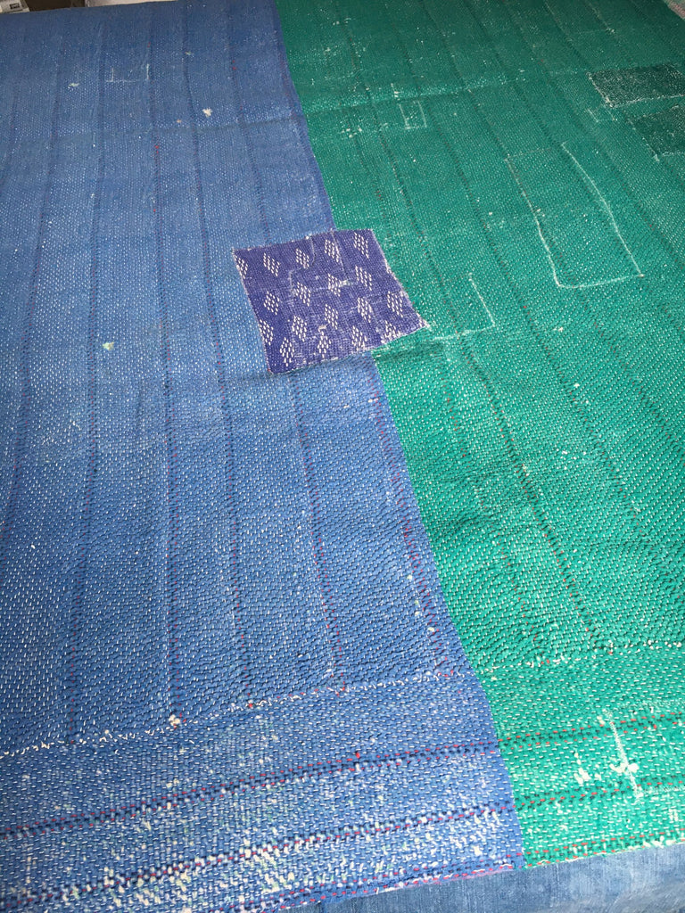 blue and green indian kantha throw bedspread machine washable quilt