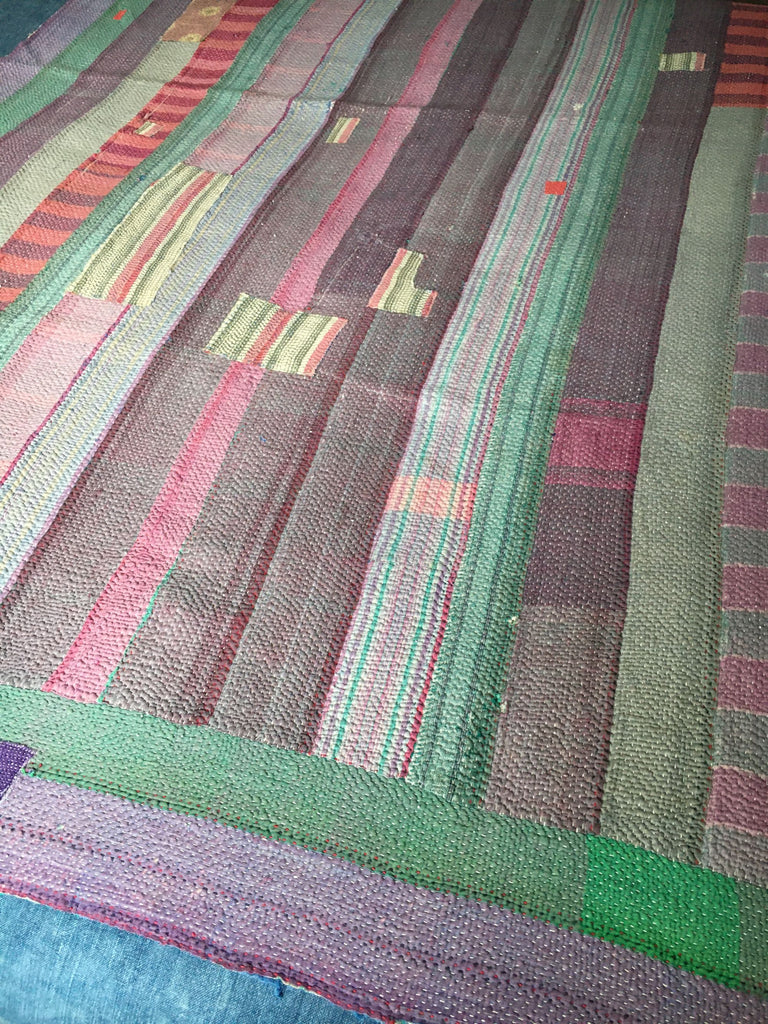 patchwork blue and purple striped indian kantha throw bedspread machine washable