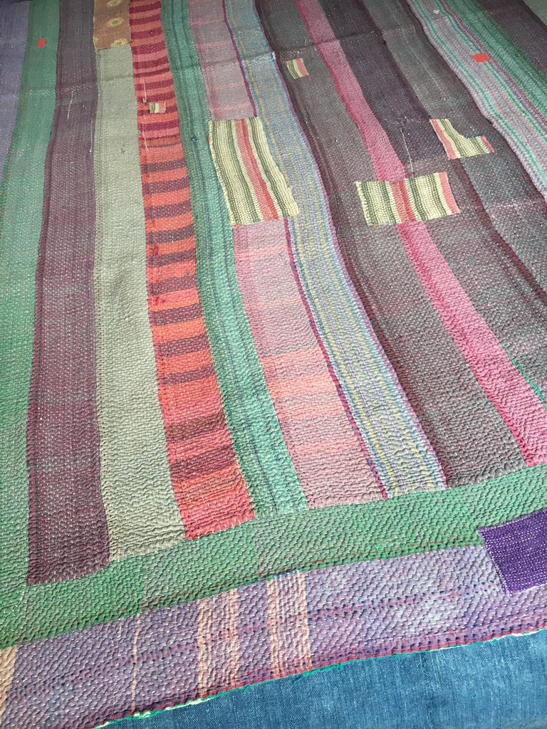 blue and purple striped indian kantha throw bedspread machine washable warm doona