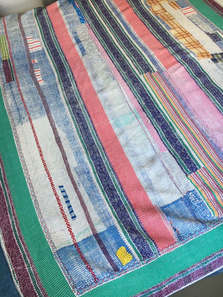 colourful vintage kantha quilt throw for single and double bed by Rebecca's Aix Home