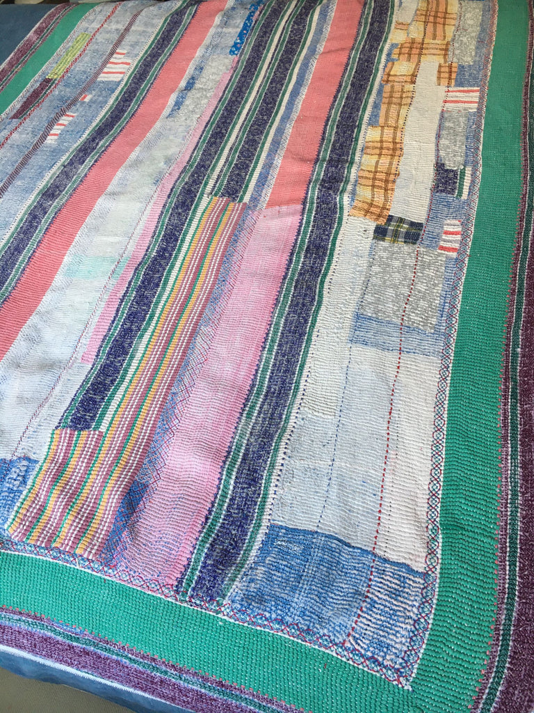 colourful vintage kantha quilt bedspread for single and double bed machine washable cotton throw