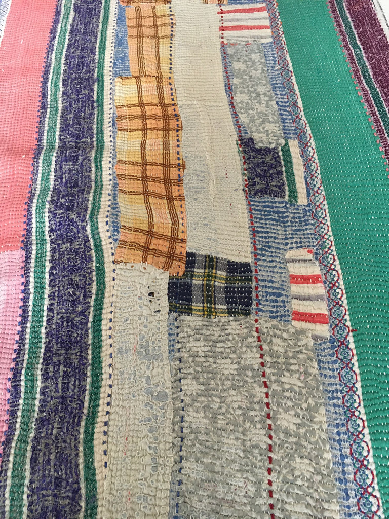 colourful vintage kantha quilt throw for single and double bed warm cotton bedspread for children