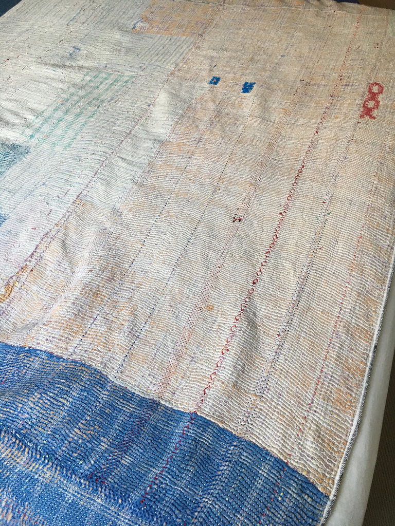 reverse side of colourful vintage kantha quilt throw for single and double bed machine washable UK