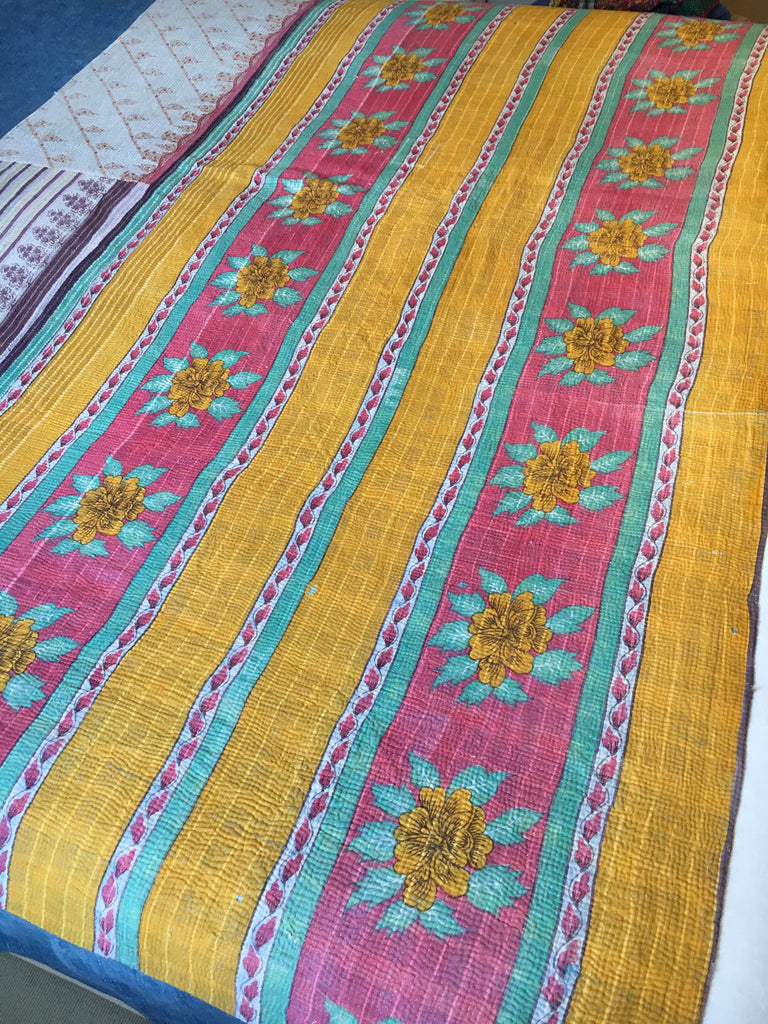 colourful vintage indian kantha throw for bedspread or for sewing cushions, jacket or upholstery