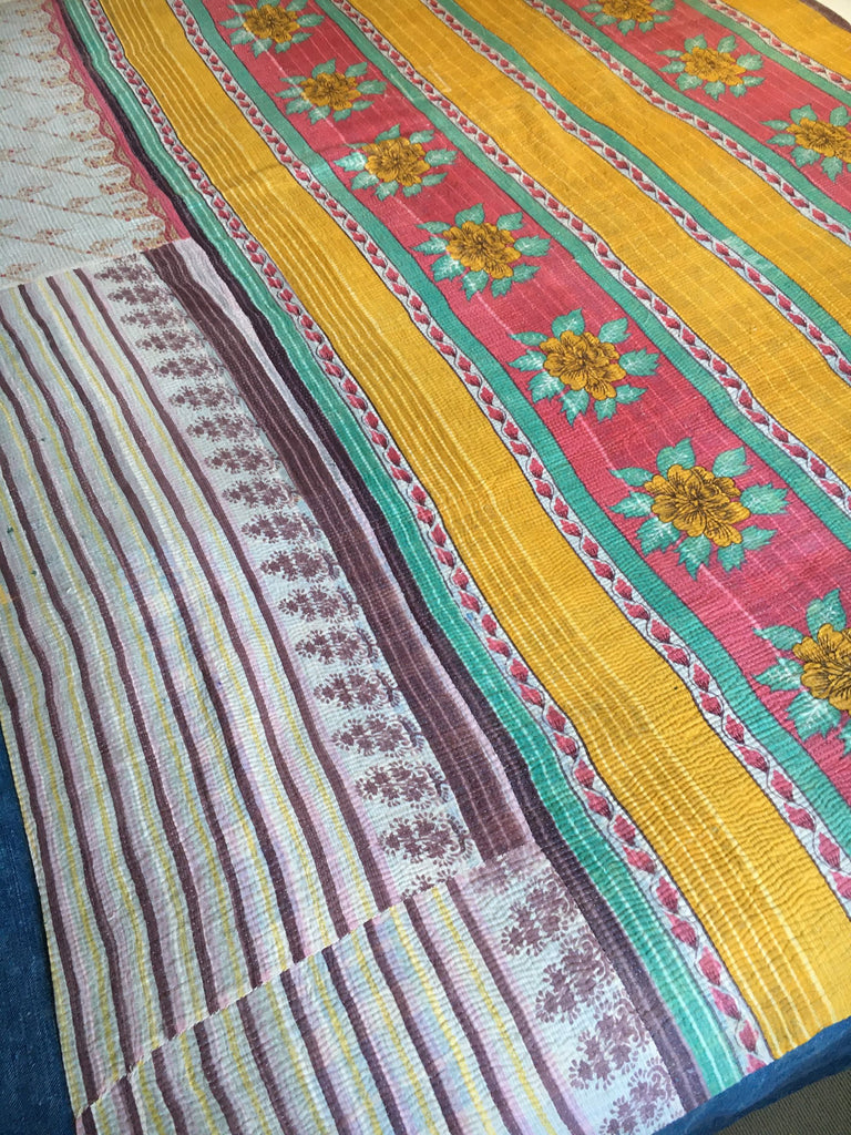 Bright pink and turquoise vintage indian kantha throw for bedspread or for sewing cushions, jacket