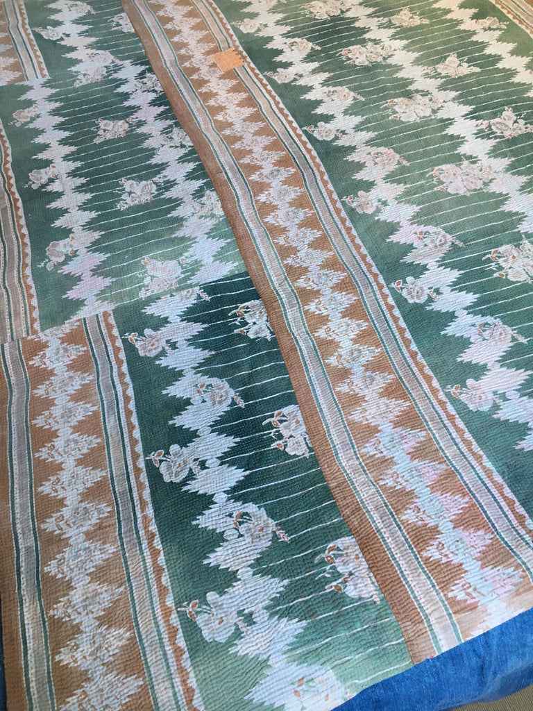subtle colours in this  vintage indian kantha throw for bedspread or for sewing cushions, jacket