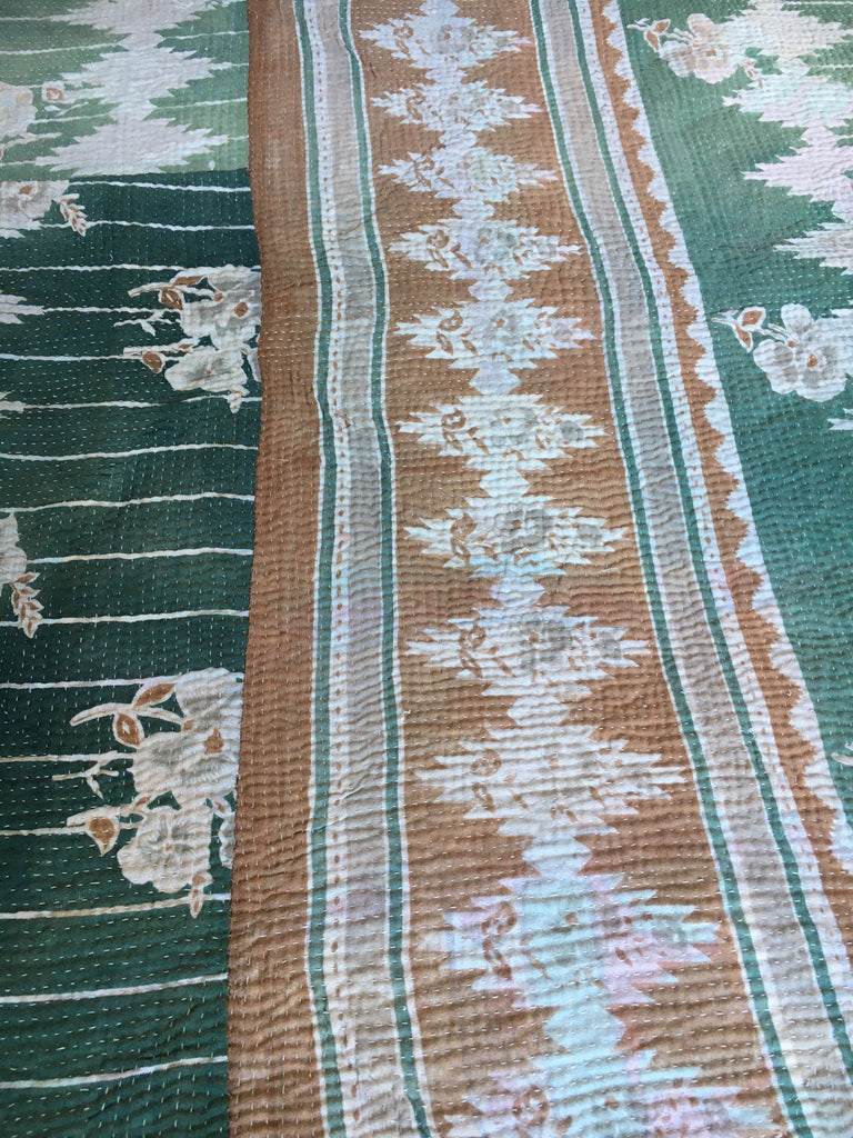 subtle colours in this  vintage indian kantha throw for bedspread or for sewing cushions or jacket
