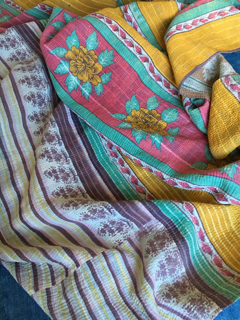 colourful vintage indian kantha throw for bedspread or for sewing cushions, jacket machine washable