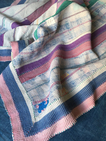striped patchwork kantha throw blue pink white and lots of patches by Rebecca's Aix Home