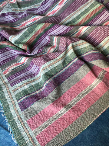 beautiful striped vintage Indian kantha throw bedspread by Rebecca's Aix Home