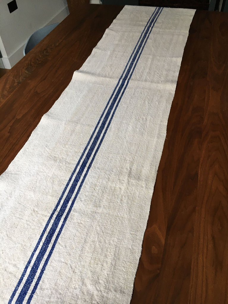 vintage hungarian blue stripe grain sack fabric hemp burlap royal blue stripe table runner