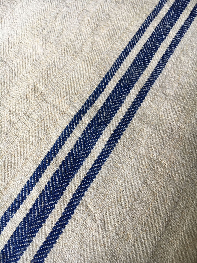 vintage hungarian blue stripe grain sack fabric hemp burlap royal blue stripe  by Rebecca's Aix Home