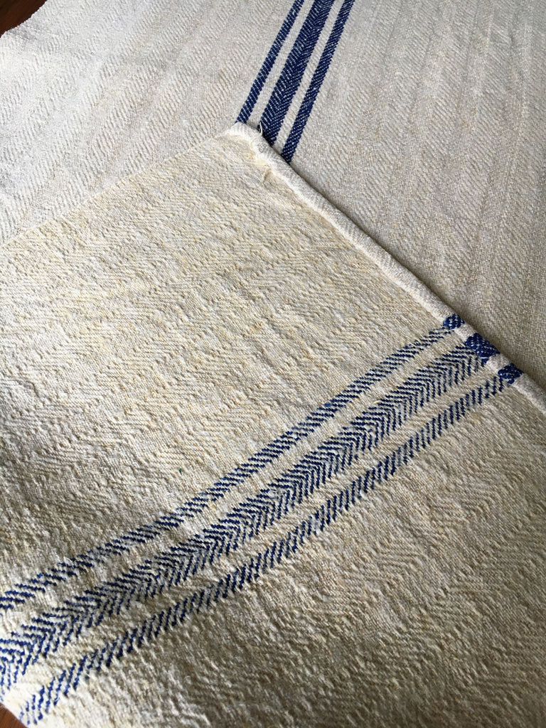blue stripe hungarian grain sack fabric for table runner upholstery cushions burlap for sewing