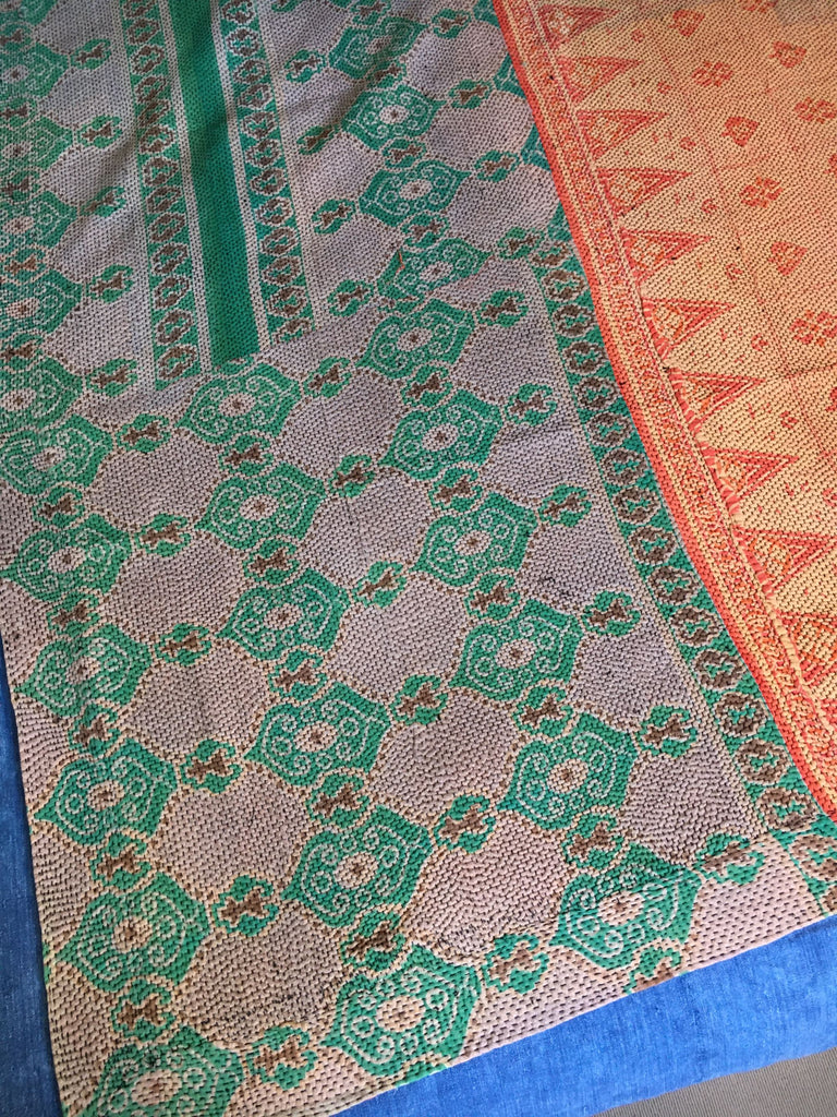 green and orange vintage indian kantha quilt to fit king and super king bed