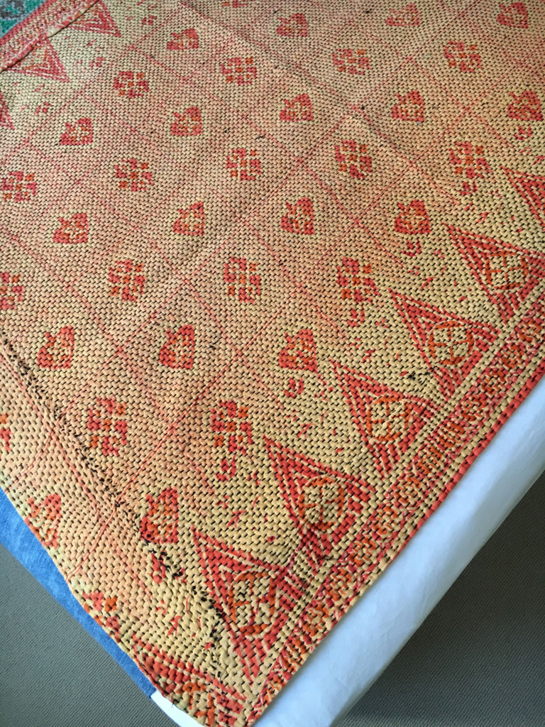 green and terracotta bedspread  vintage indian kantha quilt to fit king and super king bed