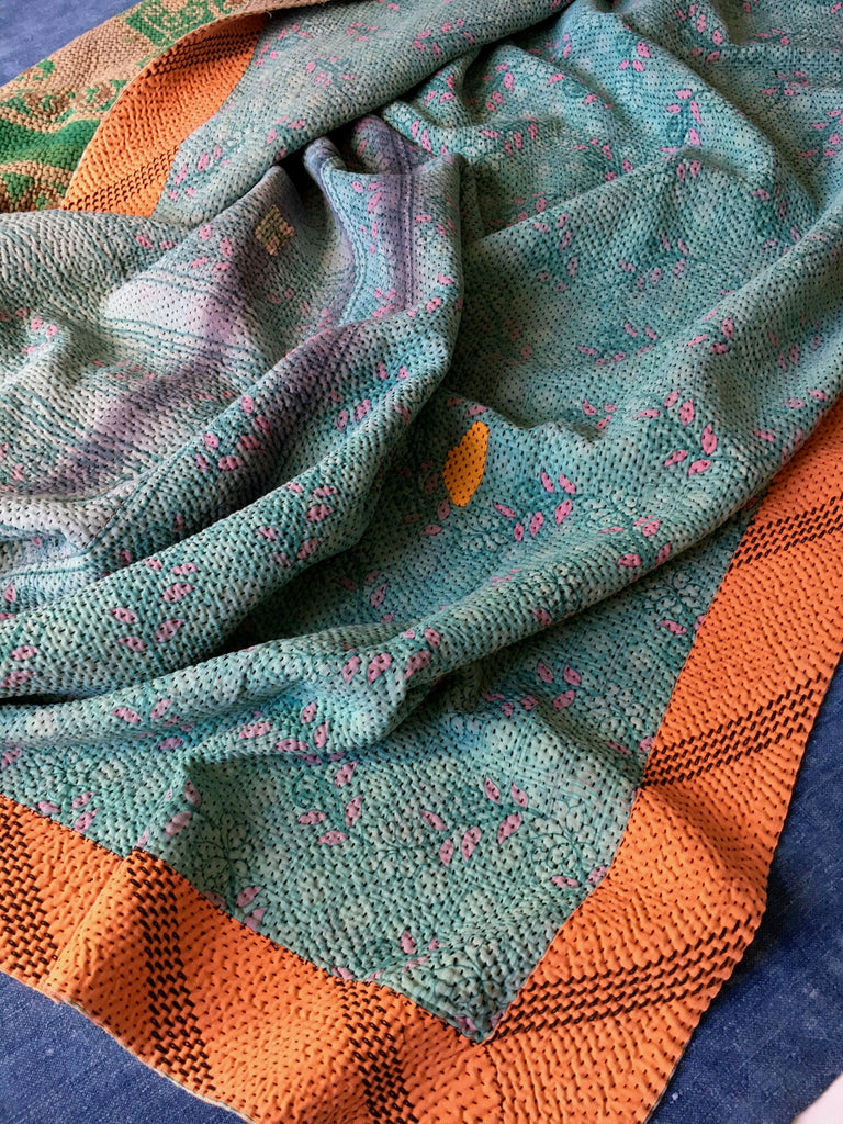 blue and orange vintage indian kantha quilt to fit king and super king bed bedspread throw