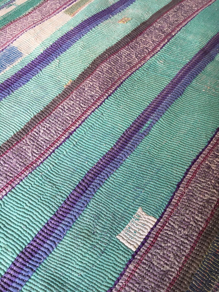 pink blue and orange patchwork kantha throw cotton machine washable king size throw single bed size