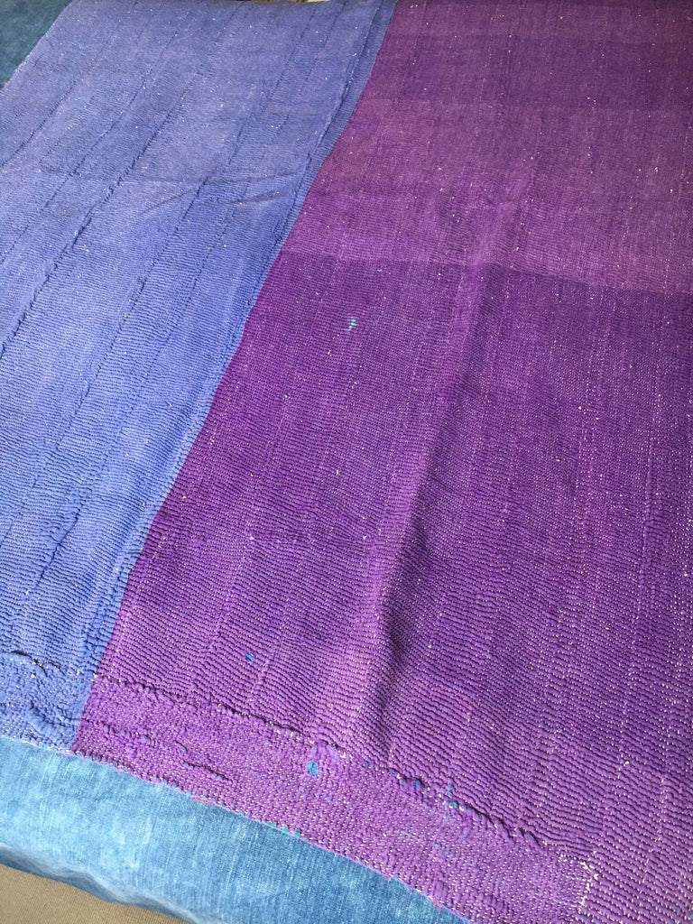 blue and purple one and pink blue and orange patchwork kantha throw on reverse machine washable