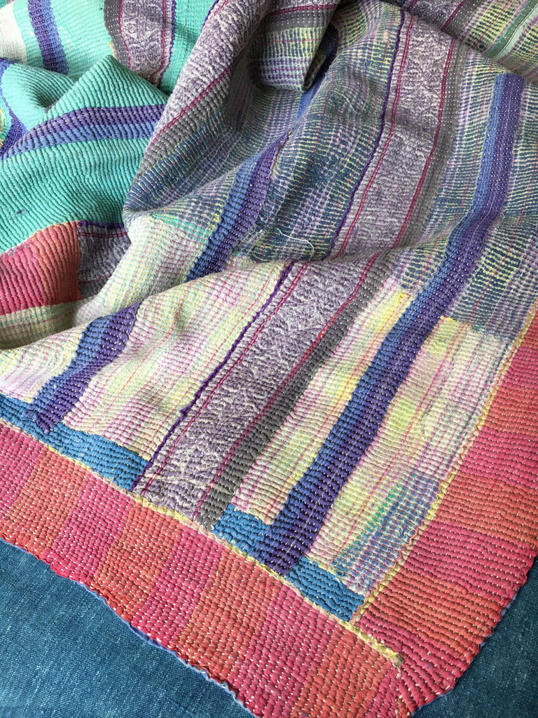 pink blue and orange patchwork kantha throw cotton machine washable by Rebecca's Aix Home
