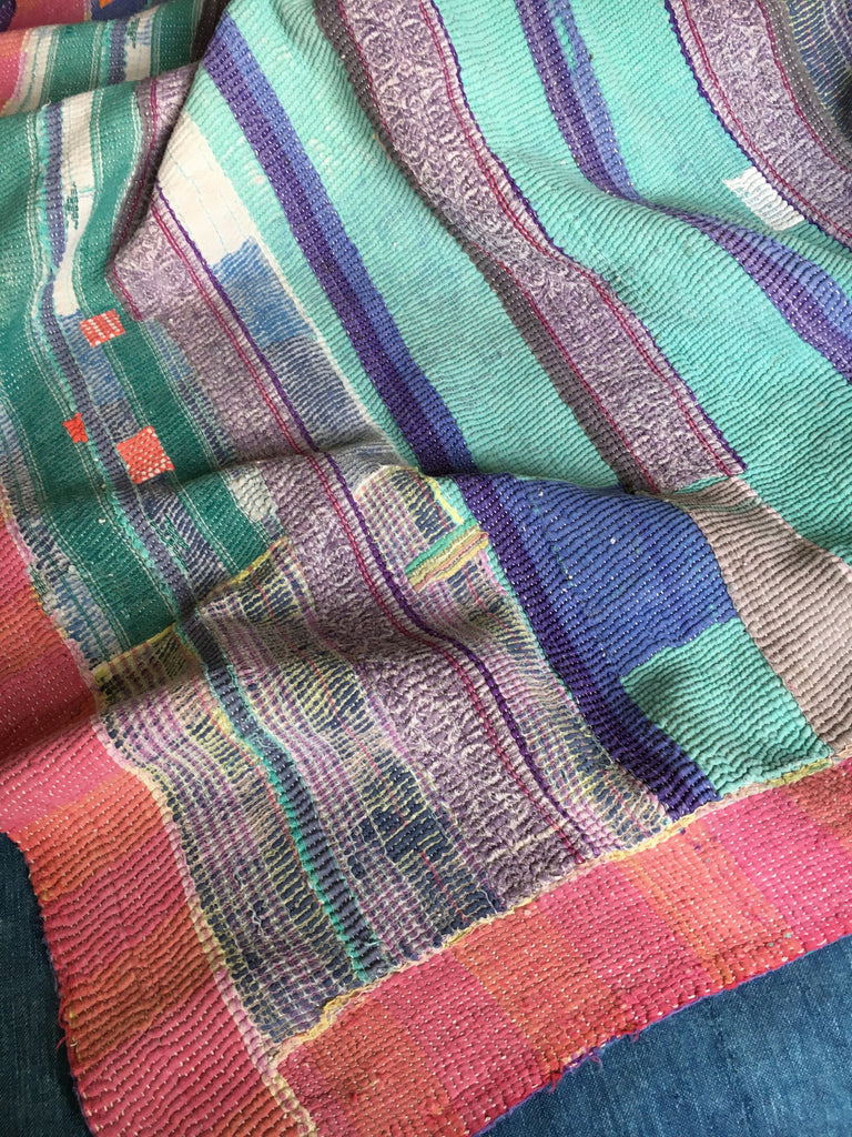 pink blue and orange patchwork kantha throw cotton machine washable comforter doona