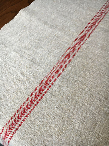 red stripe vintage grainsack fabric table runner for cushion upholstery hemp burlap