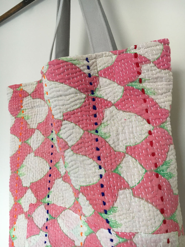 small shopper pink white and green book bag kantha bag handmade