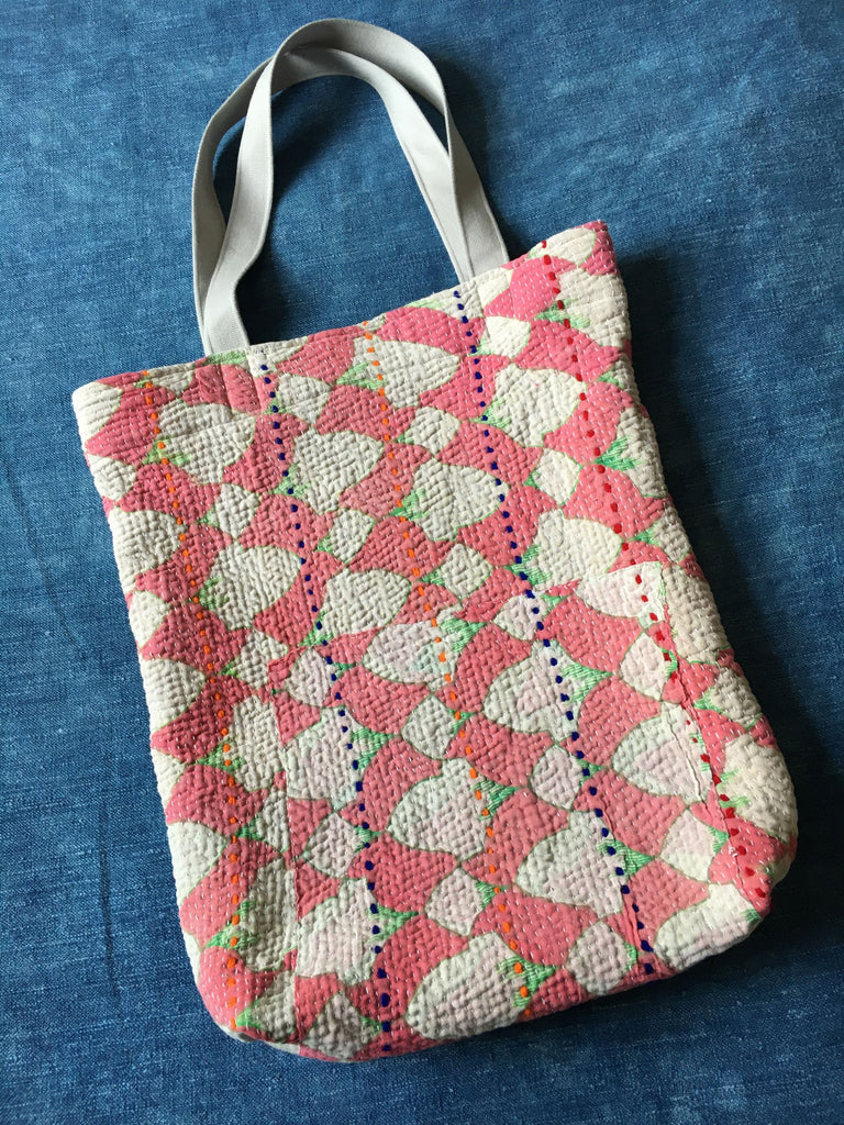 pink white and green book bag kantha bag handmade by Rebecca's Aix Home