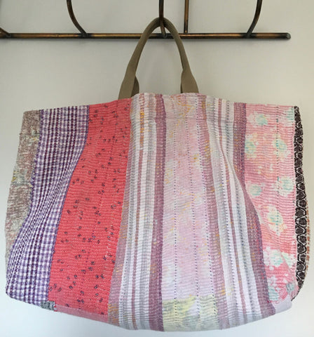pink and purple patchwork kantha beach bag overnight toy bag handmade by Rebecca's Aix Home