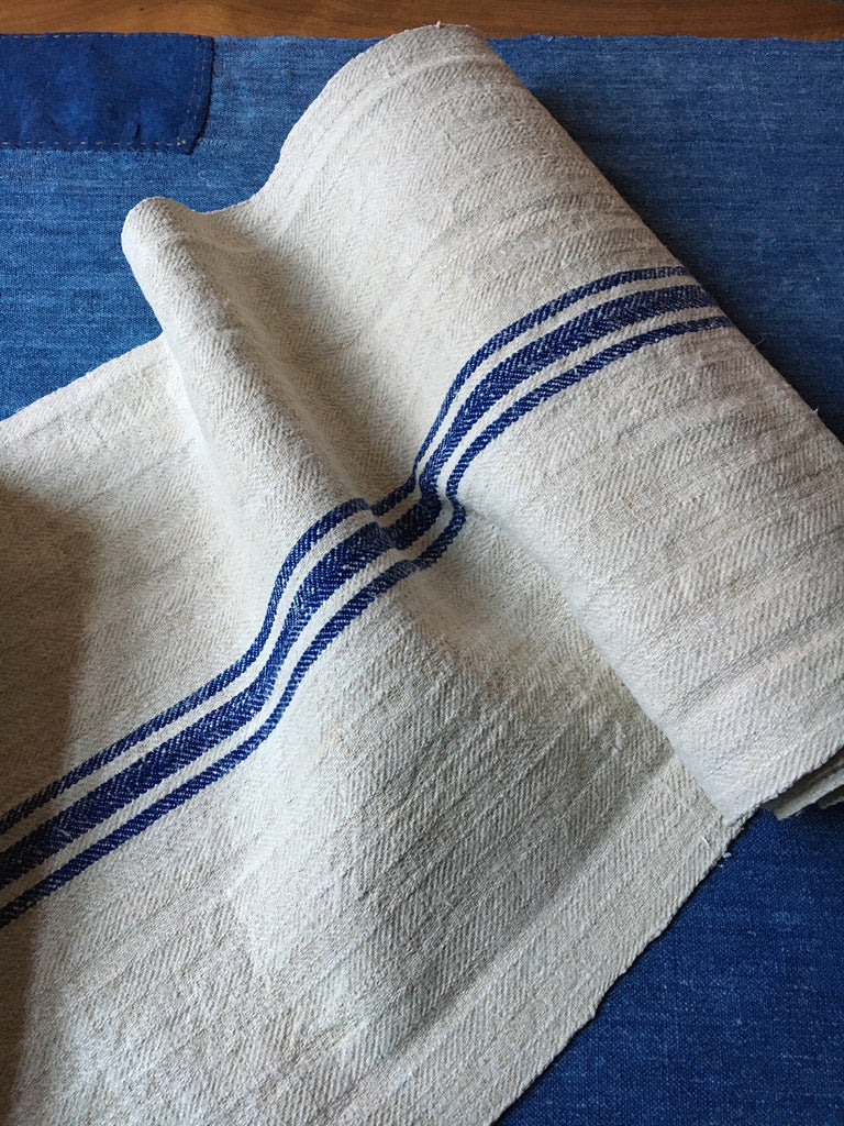 vintage hungarian blue stripe grain sack fabric hemp burlap royal blue stripe upholstery fabric