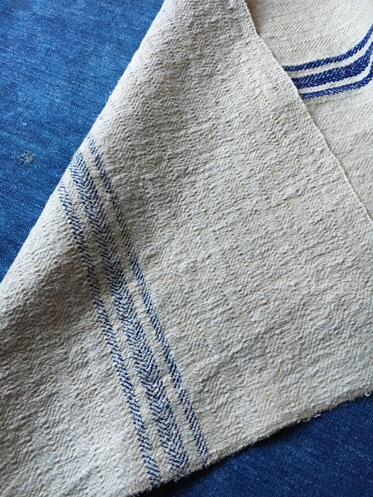 vintage hungarian blue stripe grain sack fabric hemp burlap royal blue stripe rustic fabric