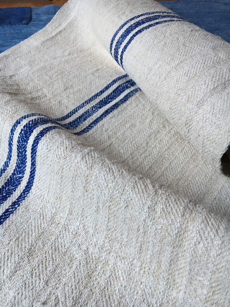 rustic burlap vintage hungarian blue stripe grain sack fabric hemp royal blue stripe  table runner