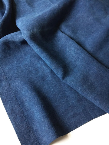 antique french indigo linen sheet large blue bedspread heirloom textiles by Rebecca's Aix Home