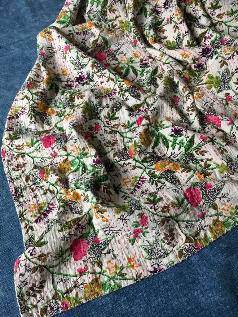 single pretty floral bedspread kantha pink green quilt by Rebecca's Aix Home