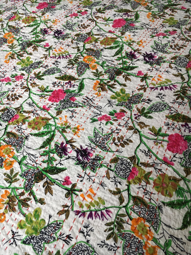 single pretty floral bedspread kantha pink green quilt sofa throw curtain tablecloth