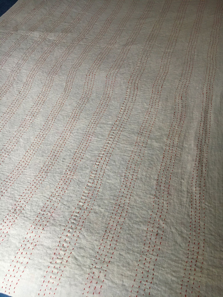 single pretty floral bedspread kantha pink green quilt