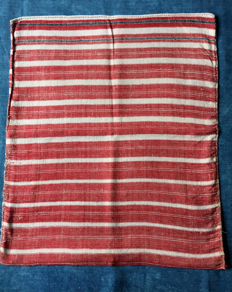 santa sack floor cushion cover red white stripes vintage hand loomed textiles