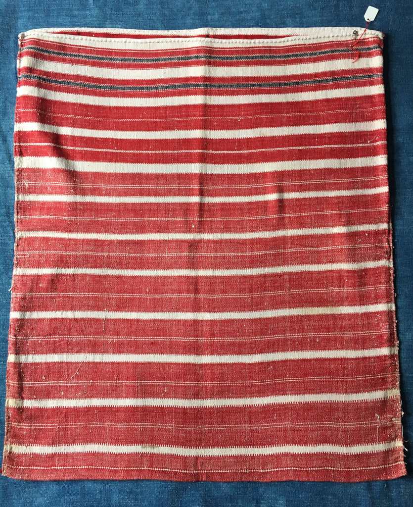 bath mat floor cushion cover red white stripes vintage hand loomed textiles by Rebecca's Aix Home