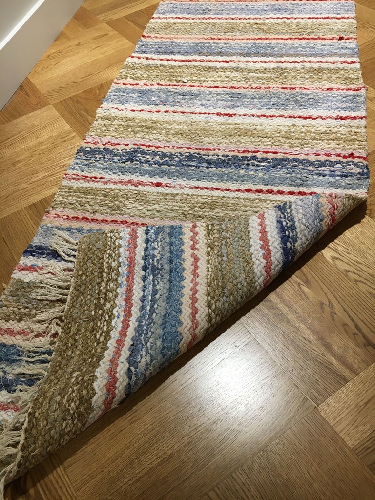 reversible washable striped vintage swedish rug runner carpet bedside rug bathroom mat