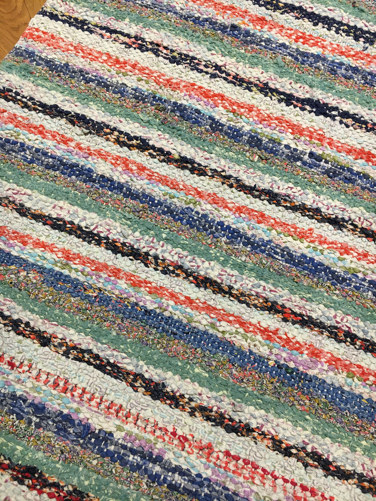 vintage swedish rag rug floor runner multi color striped colour machine wasable trasmatta