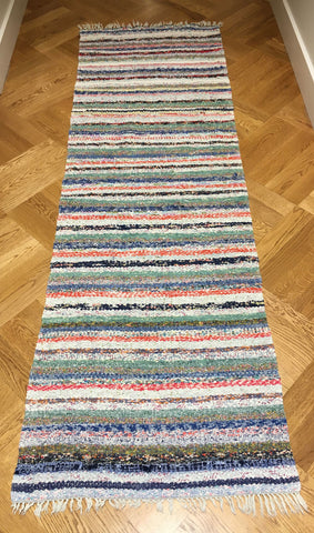 vintage swedish rag rug floor runner multi color striped green blue red white