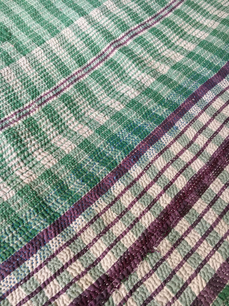 racing green purple pink check and stripe kantha throw sari quilt bedspread vintage india blanket