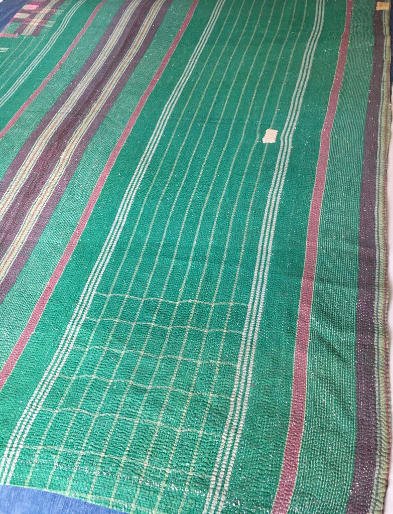 jade green purple pink check and stripe kantha throw sari quilt bedspread vintage india blanket