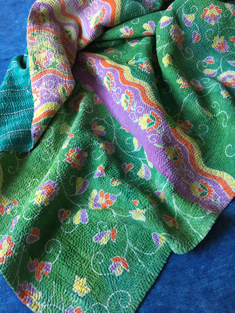 flowery green purple orange yellow kantha quilt bedspread throw cotton by Rebecca's aix Home
