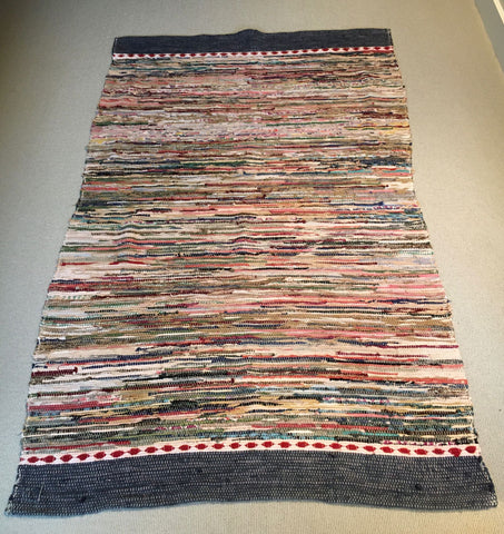 wide vintage swedish rug carpet trasmatta in dark blue, red and white machine washable runner