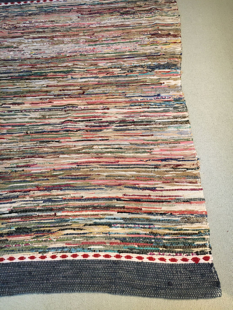 wide vintage swedish rug carpet trasmatta in dark blue, red and white runner Rebecca's Aix Home