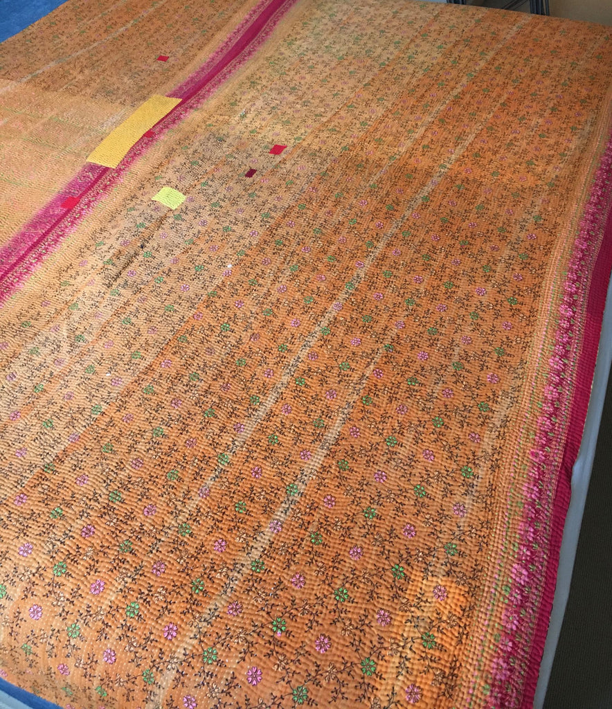 orange pink yellow kantha bedspread super king throw machine washable quilt reversible