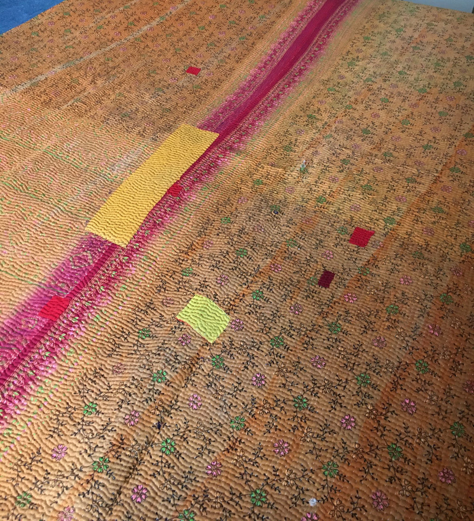 orange pink yellow kantha bedspread super king throw machine washable quilt recycled sari quilt