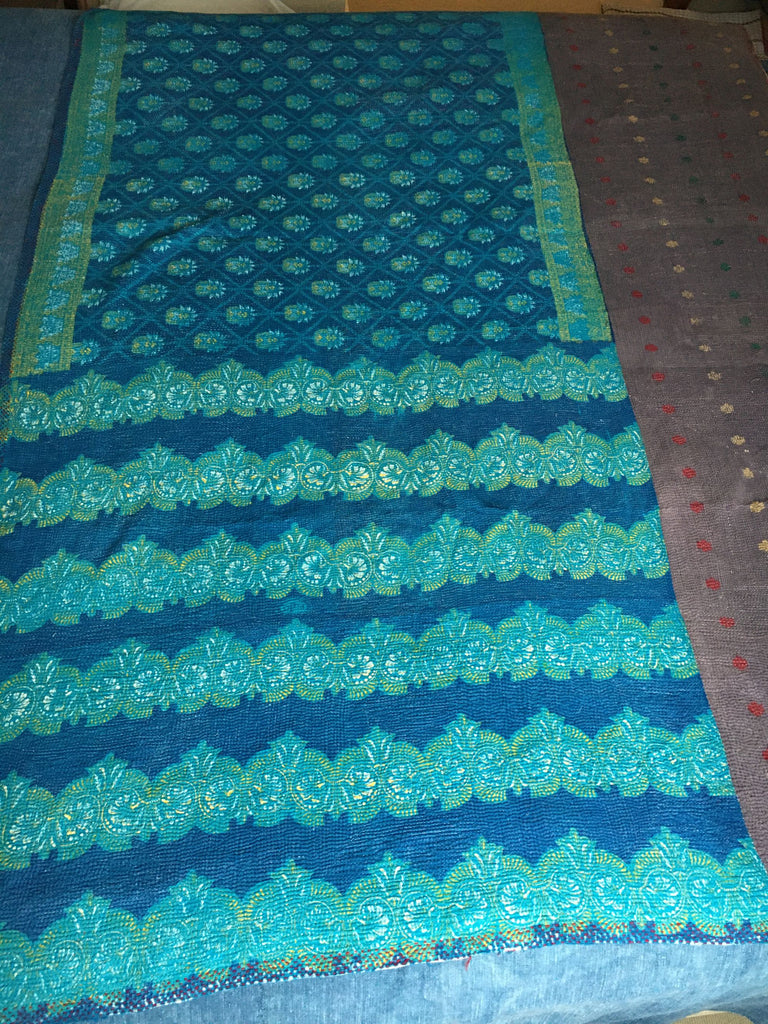 cotton lightweight reversible kantha throw quilt bedspread doona comforter turquoise blue
