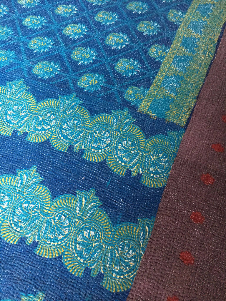 bright blue cotton lightweight reversible kantha throw quilt bedspread doona comforter turquoise