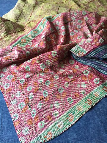 pink yellow green pastel kantha vintage quilt throw bedspread machine washable by Rebecca's Aix Home